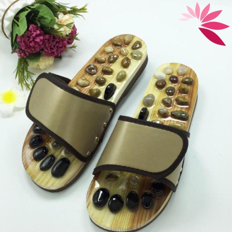 GÍA BUÔN) Dép Massage khảm đá Bấm huyệt bàn chân trên gỗ tự nhiên, Bấm Huyệt chân Giảm căng thẳng mệt mỏi size từ 37 đến 41 giá rẻ