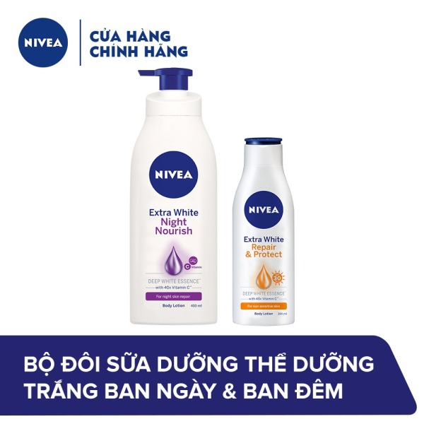 Bộ đôi Sữa dưỡng thể dưỡng trắng Chống nắng ban ngày 88310 (200ml) & Phục hồi ban đêm 88126 (400ml)