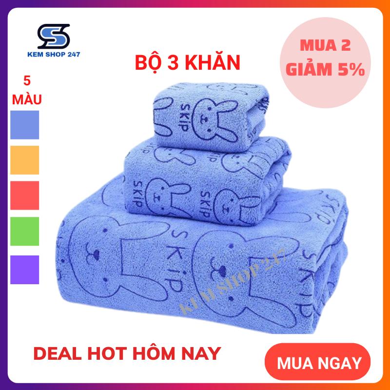 Bộ 3 Khăn tắm- Khăn lau đầu - Khăn mặt sợi Microfiber cao cấp  siêu mềm mịn, hút nước, không ra màu ( dùng được cho trẻ nhỏ)
