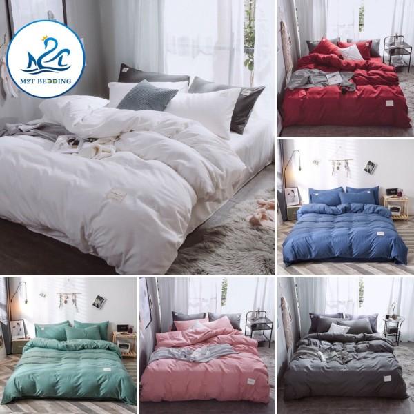 Bộ chăn ga gối cotton tici M2T Bedding màu trơn - Grap nệm thun lạnh Hàn Quốc - Drap giường đệm đủ size