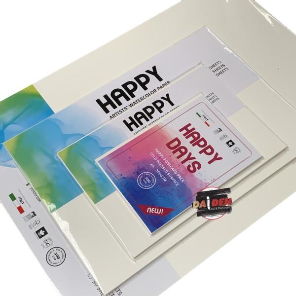 Postcard Giấy Vẽ Màu Nước 300gsm Happy A6/A5/A4