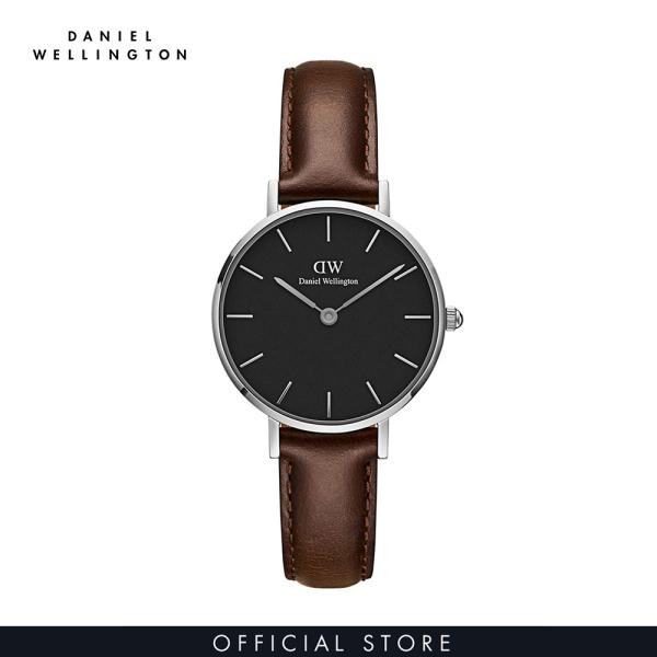 Đồng hồ Nữ Daniel Wellington dây da - Petite Bristol mặt đen - vỏ bạc