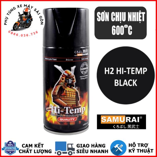 Chai sơn xịt, sơn xe Samurai H2 sơn chịu nhiệt màu đen mờ, sơn pô chống cháy 300ml chính hãng - Nhập khẩu Malaysia
