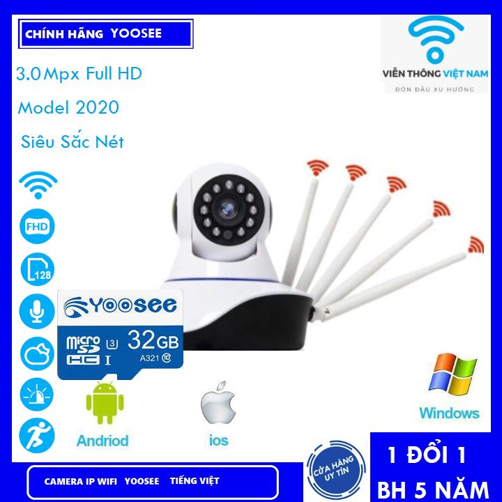 [ KÈM THẺ NHỚ 128 YOOSEE 8 LED 3.0Mpx BẢO HÀNH 5 NĂM ] Camera Wifi - Camera Yoosee Wifi 5 Râu 3.0Mpx Full HD 1080P Model 2021 (KÈM THẺ 430K VÀ KHÔNG THẺ 340K)