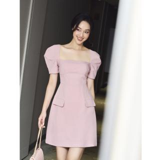 RECHIC Đầm Amanda màu hồng cổ vuông ngắn tay có túi giả thanh lịch xinh xắn thumbnail