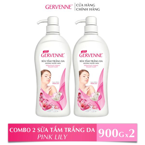 Gervenne Combo 2 Sữa tắm Trắng da Hương nước hoa Pink Lily (900g/chai)