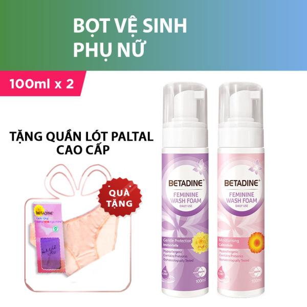 [Tặng quần lót cao cấp] Bộ 2 Bọt vệ sinh phụ nữ Betadine 100ml/chai (Tím và Hồng) giá rẻ