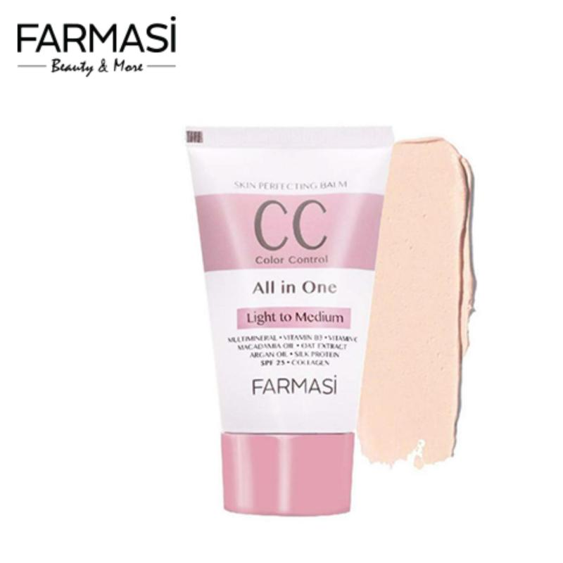 Kem Trang Điểm CC Dưỡng Da 8 in 1 SPF25 Farmasi 50ml - Light To Medium - CC Cream (1801CC)