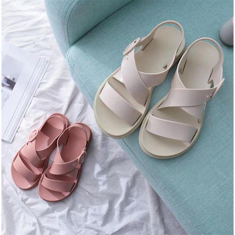 Sandal nữ dép thời trang nhựa dẻo đi mưa HAPU đen hồng kem giá rẻ