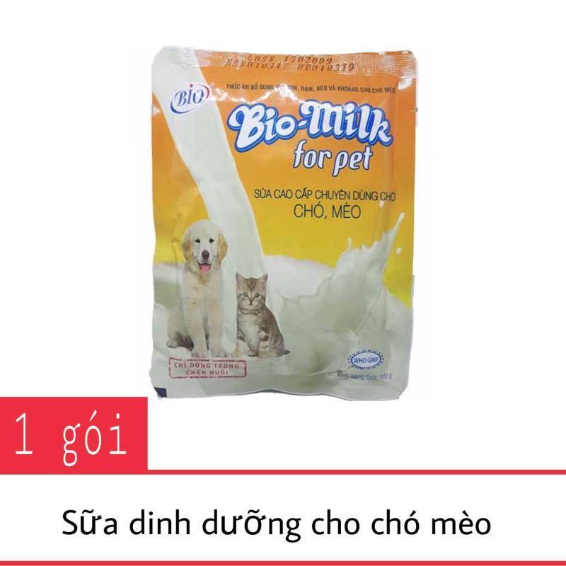 Sữa cho chó mèo BIO MILK - Gói 100g - bổ sung vitamin, đạm, béo và khoáng - Jpet Mart
