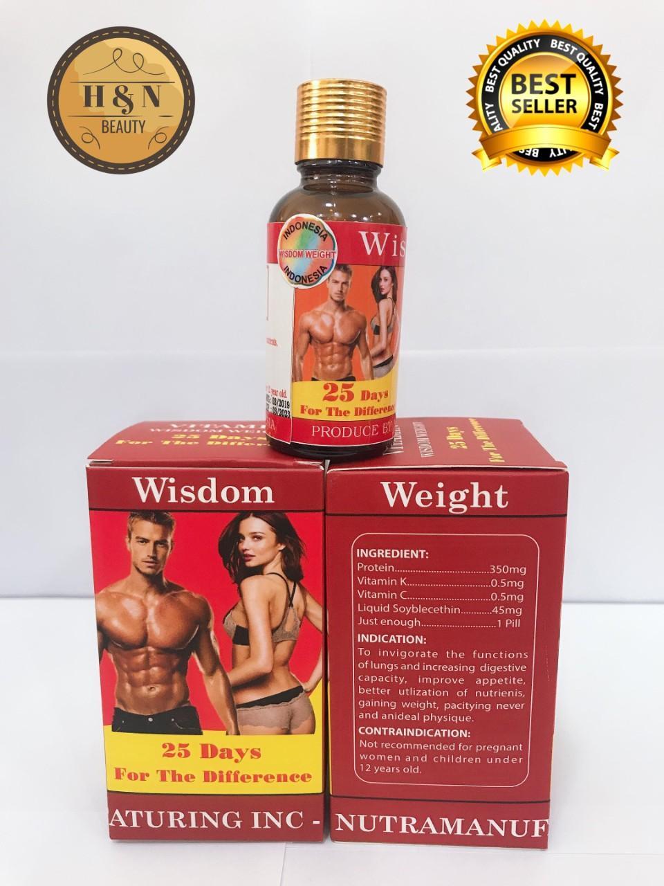 Combo 2 hộp Viên Uống Hỗ Trợ Tăng Cân và Cơ Bắp Wisdom Weight (Hộp 25 viên)