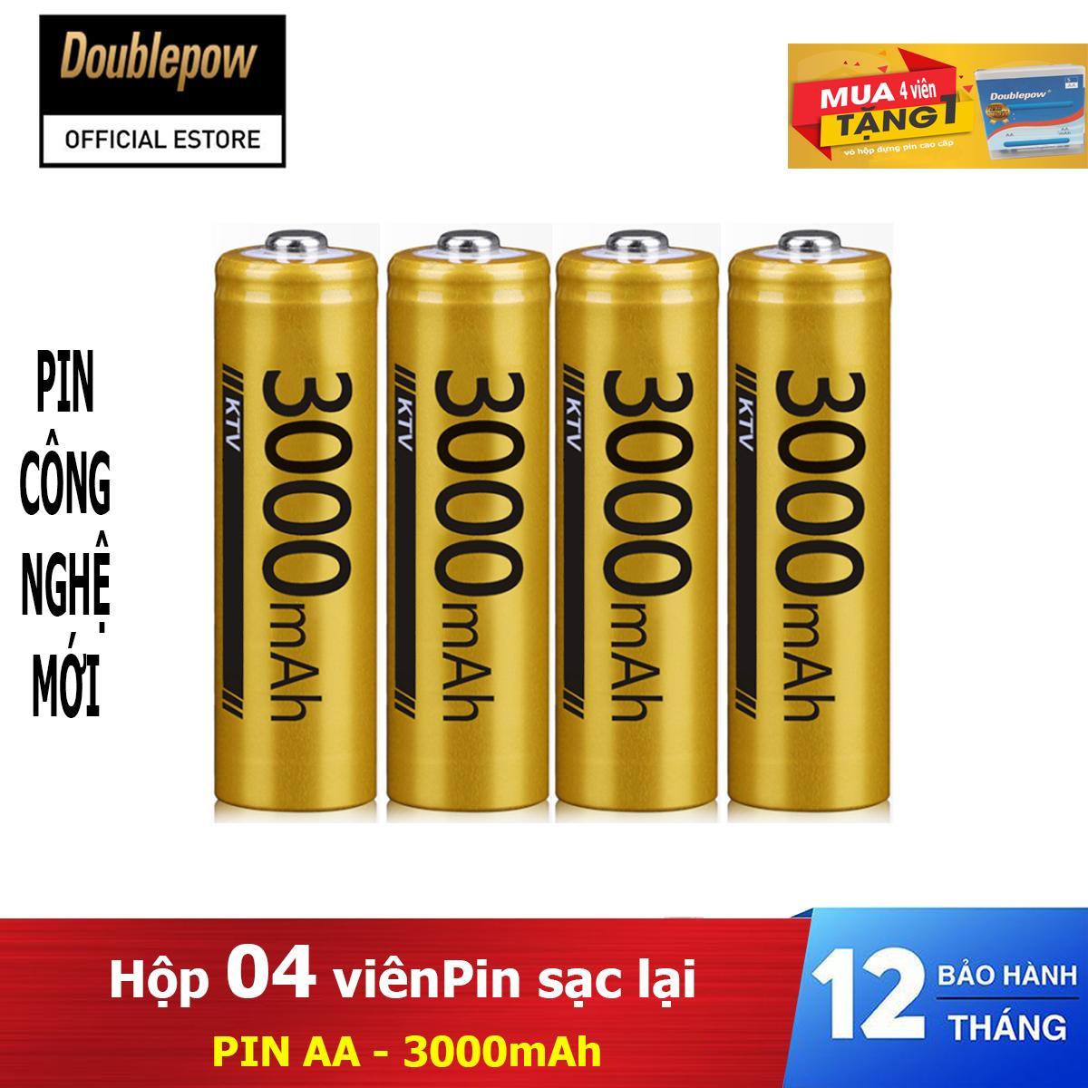 Giá Hộp 4 viên Pin sạc lại Doublepow AA 3000mAh - pin dung lượng thực (màu vàng) - pin chuyên dụng Micro Karaoke