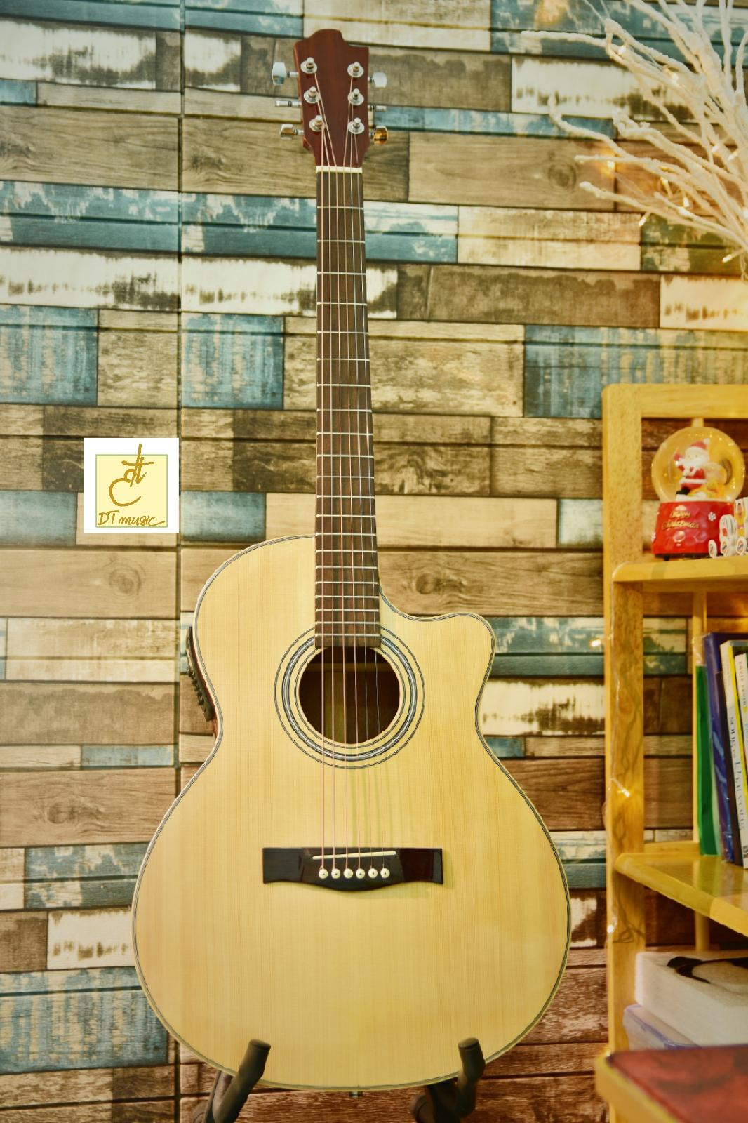 Guitar Acoustic Gỗ Hồng Đào + EQ  DT-A16ce  Tặng kèm bao da và phụ kiện