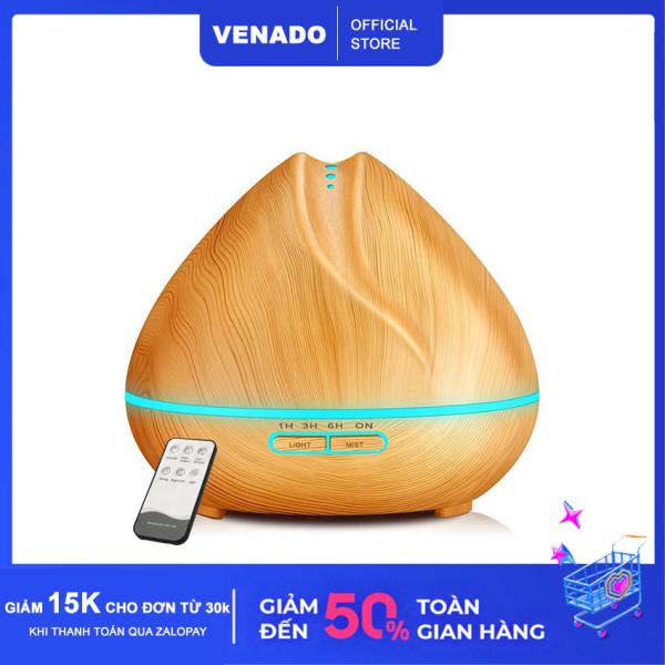 Máy xông tinh dầu búp sen vân gỗ 500ml có remote led Venado tích hợp led 7 màu tự động tắt khi hết nước Máy khuếch tán hương thơm tinh dầu, đuổi muỗi