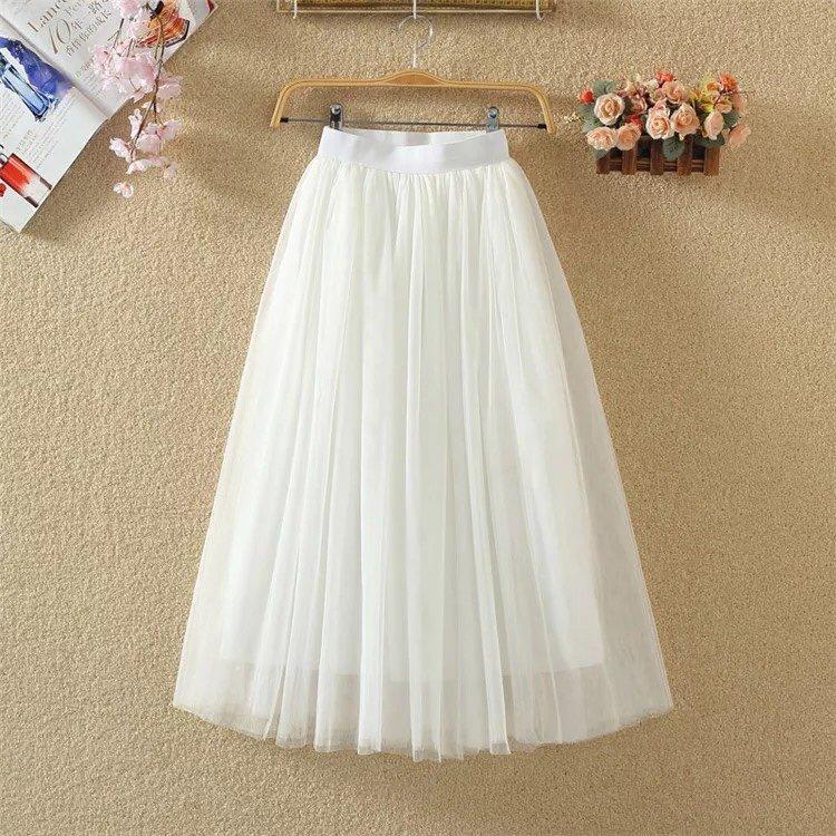 Chân váy dài phối lưới hai lớp siu dễ thương TTS0206 Nhật Bản