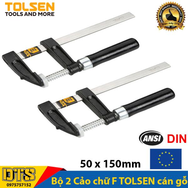 Bộ 2 Cảo chữ F cán gỗ  50 x 150mm TOLSEN - Tiêu chuẩn xuất khẩu Châu Âu (Vam kẹp gỗ chữ F)