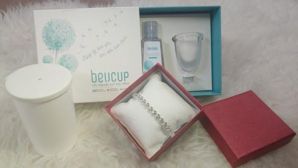 Cốc nguyệt san Beucup tặng kèm lắc tay bạc+gel vệ sinh cốc +cốc tiệt trùng + túi vải ( hàng chính hãng công ty) giá rẻ