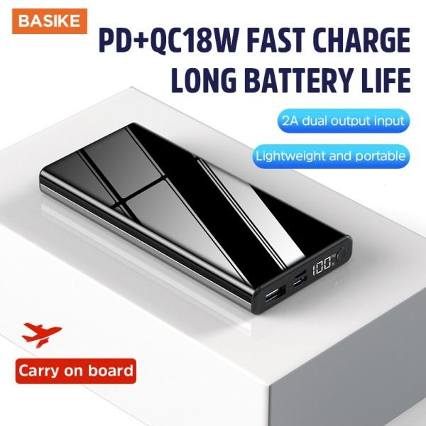 BASIKE sạc dự phòng 10000 mah QC3.0 PD 18W Màn hình LED Sạc nhanh Pin sạc dự phòng cho Iphone Oppo Ipad Điện thoại di động Samsung Xiaomi l 2A Đầu vào: Micro USB và Type-C l 2A Đầu ra: USB và Type-C(PT15P)