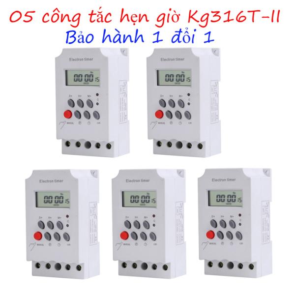 Bộ 5 công tắc hẹn giờ điện tử electron timer Kg316 T-II, 05 timer hẹn giờ điện tử