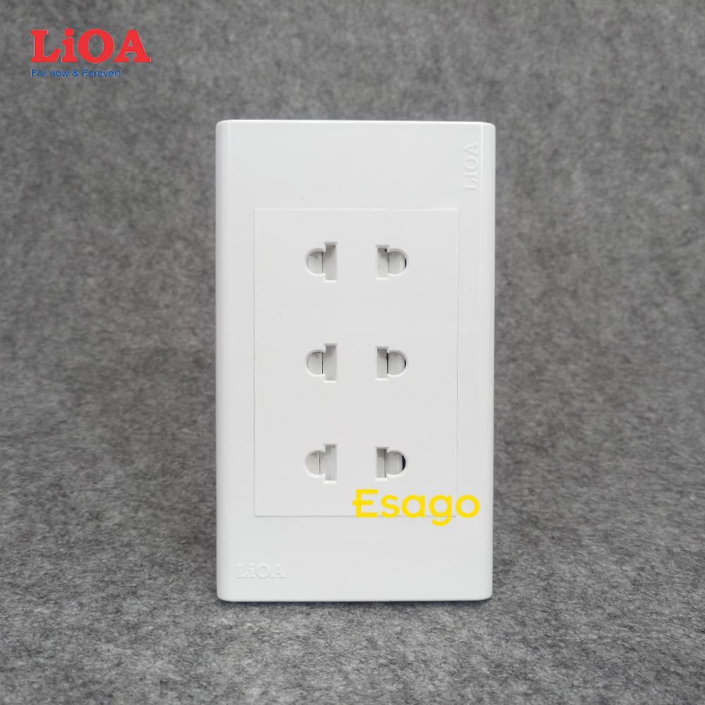 Combo ổ cắm điện ba 2 chấu 16A LiOA (3520W) âm tường giá rẻ