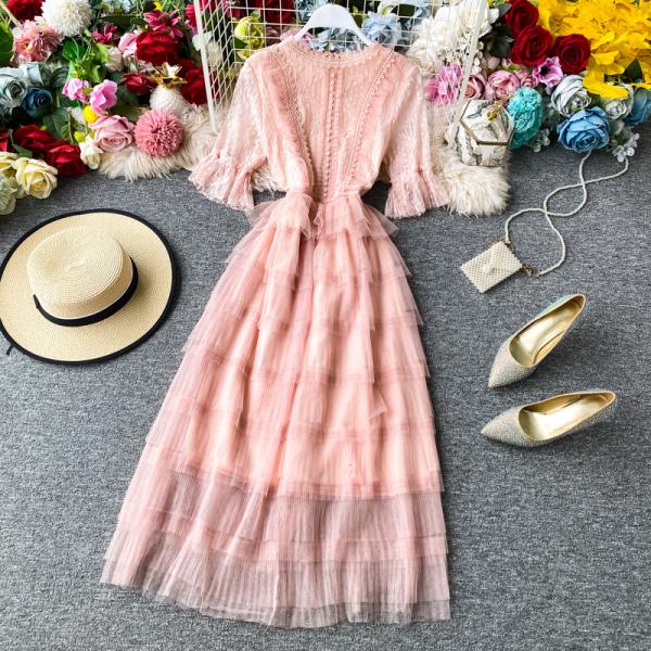 Rất Cổ Tích Của Váy Lưới Váy Tầng Mùa Hè 2020 Mẫu Mới Thục Nữ Khí Chất Váy Bồng Lớn A Dài Váy Ngắn Tay