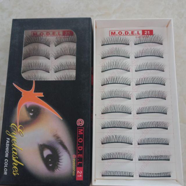 Hộp 10 cặp Mi giả trong suốt tự nhiên Model 21 Eyelashes Fashion Color tốt nhất