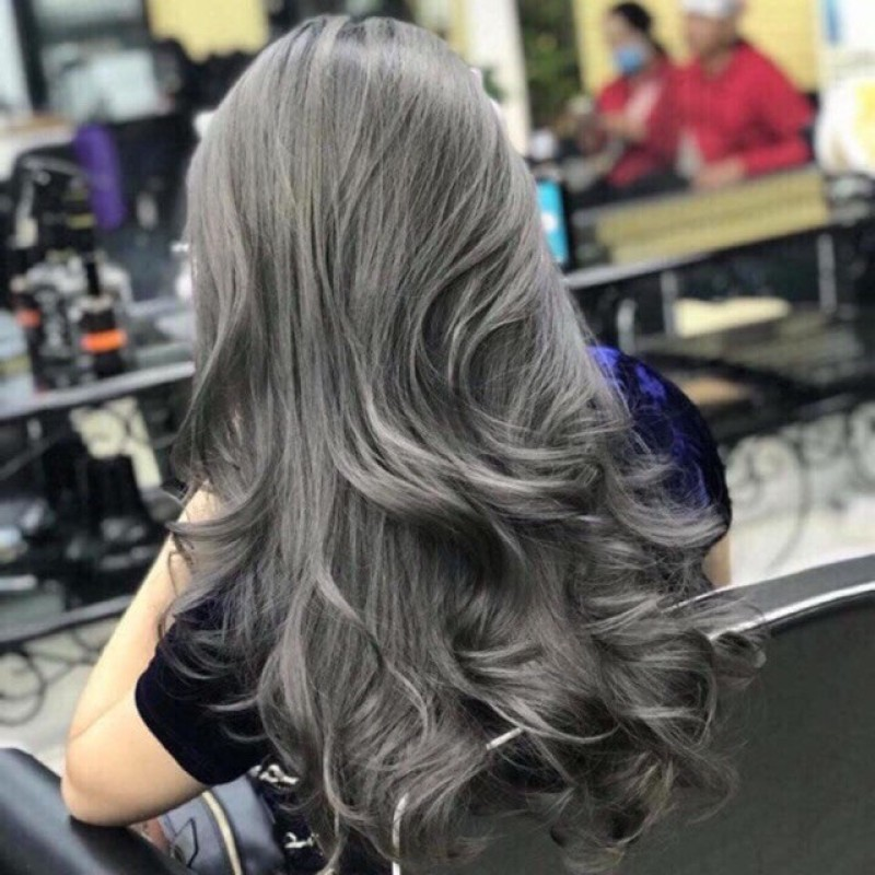💥Tuýp Nhuộm tóc MAIA Màu xám khói + Trợ OXI + Bột tẩy (Tặng mũ và găng tay ) cao cấp