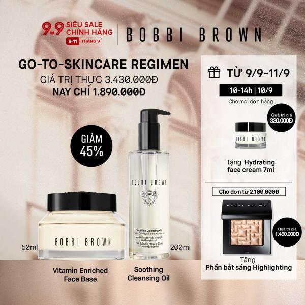[ĐỘC QUYỀN 9-11/9] Bobbi brown - Bộ 2 món: Kem lót dưỡng da Bobbi Brown Vitamin Enriched Face Base - Primer Plus Moisturizer 50ml, Dầu tẩy trang Soothing Cleansing Oil 200ml ( Giá thực 3,430,000vnd)