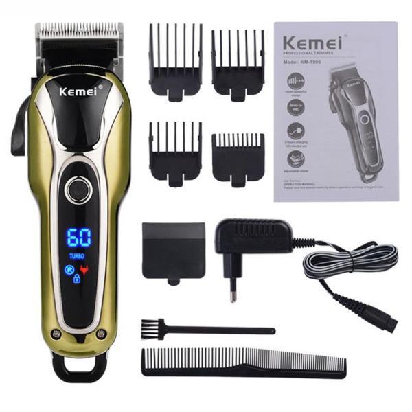 Tông đơ cắt tóc chuyên nghiệp Kemei KM-1990 - Màn hình LCD hiển thị dung lượng pin giá rẻ