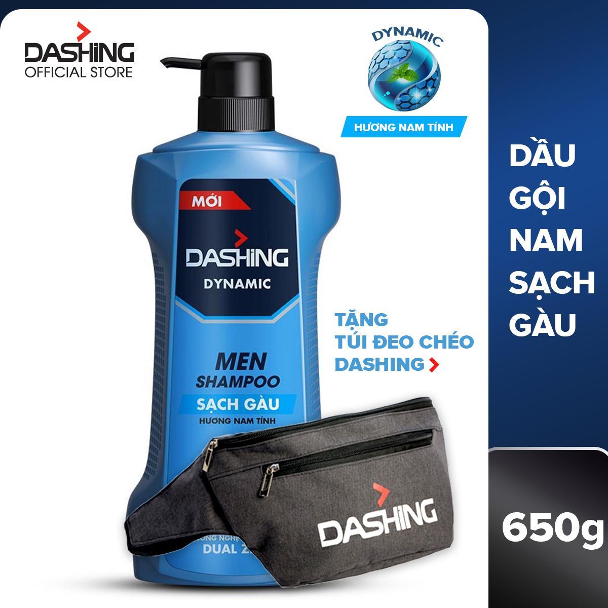 Dầu gội sạch gàu dành cho nam giới Dashing Dynamic Men Shampoo 650g - Tặng túi đeo chéo