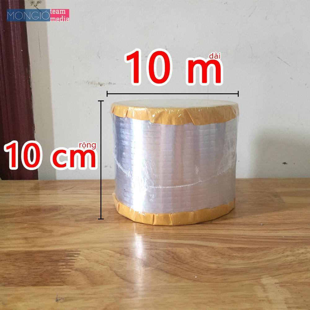 10cm x 10m - Băng keo dán chống thấm mái, màng bạt HDPE, đồ gia dụng - 10cm x 10m (Màu Bạc vuông)