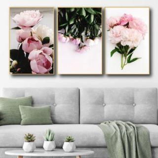 Tranh canvas treo tường có khung cao cấp - Bộ 3 bức tranh vải canvas, tranh tráng gương treo tường phong cảnh bắc âu decor trang trí phòng khách, phòng ngủ sang trọng in 3D nghệ thuật hiện đaị - tặng kèm đinh - hình 3