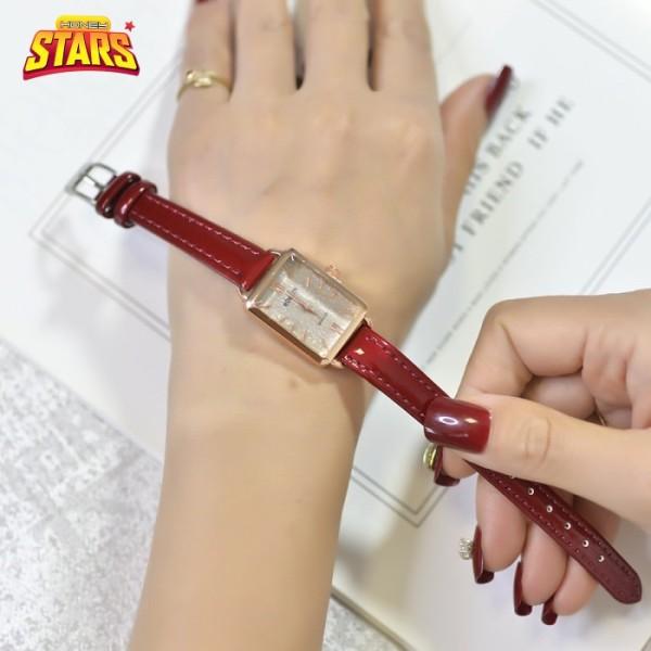 Đồng hồ nữ chống nước dây da cực mềm bản chữ nhật cao cấp đơn giản phong cách Hàn Quốc AliExpress [Tặng kèm hộp] Honey Start 565630 bán chạy