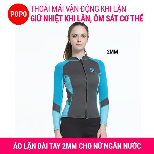 Áo lặn biển cho nữ dài tay dày 2mm; giữ ấm cơ thể, áo lặn nữ ngăn nước tiếp xúc với cơ thể hỗ trợ lặn biển MY078 POPO Collection