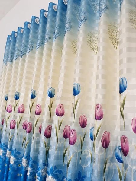 (Có kèm video sản phẩm) Rèm cửa sổ, cửa phòng ngủ chống nắng giá rẻ, hoạ tiết hoa tulip xanh TNS-056