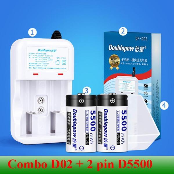 Giá [Combo pin sạc] Sạc đa năng Doublepow DP-D02 kèm 2 pin sạc đại Doublepow 5500mAh hàng nhập khẩu chính hãng