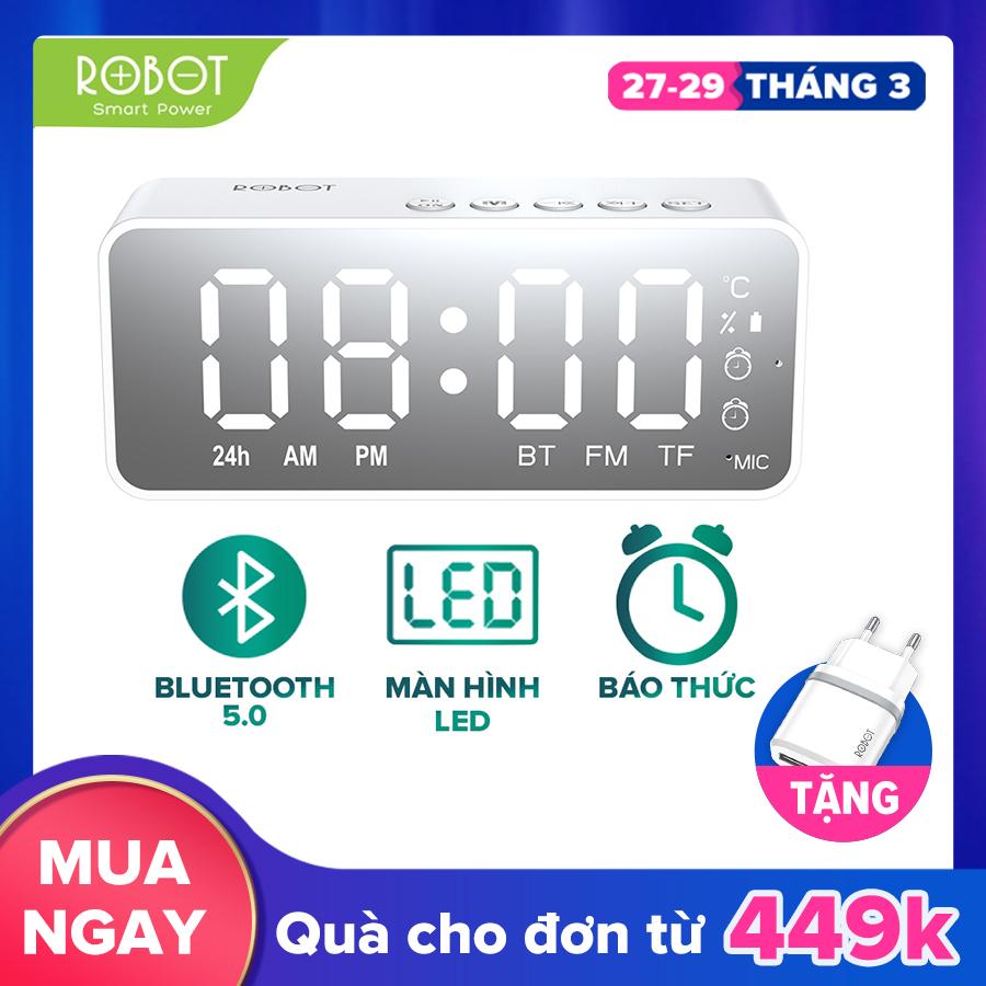 [VOUCHER giảm 7% tối đa 500K] ROBOT Loa Bluetooth đồng hồ  RB150 3in1  mặt gương đo nhiệt độ âm thanh HD sắc nét không rè âm bass trầm ấm phát đài FM - HÀNG CHÍNH HÃNG