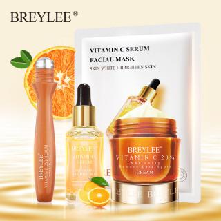 BREYLEE Skin Care Set Vitamin C Whitening Serum Facial Mask Face Cream Eye Cream Roller Remove Dark Circles thumbnail