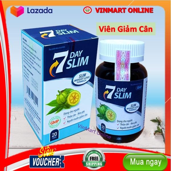 Viên uống giảm cân  7 ngày Slim - Giúp giảm cân, giảm mỡ máu- Hộp 20 viên