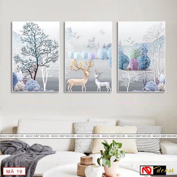 [HOT] 20 Bộ tranh treo tường 3 bức Huơu phong cách hiện đại, tranh in sắc nét rực rỡ, tặng kèm đinh treo