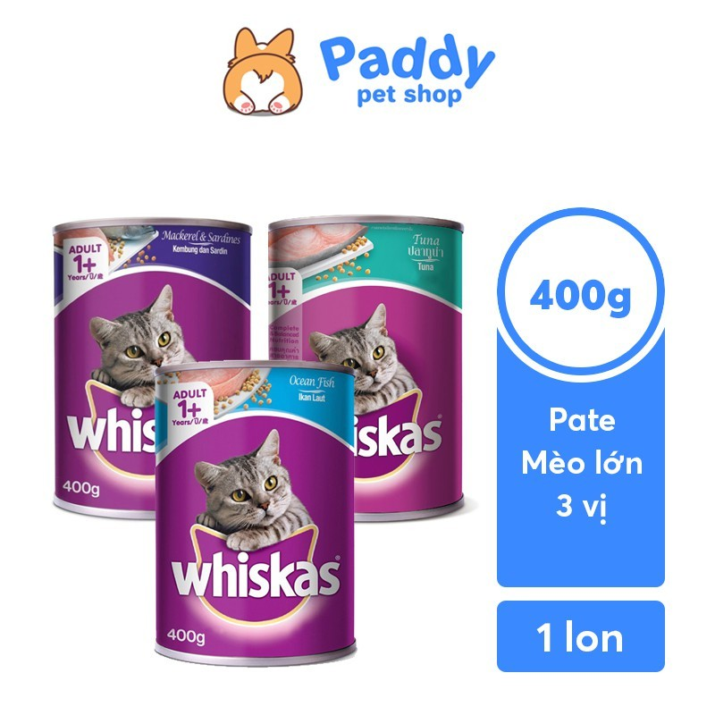 Pate Whiskas 3 Vị Cho Mèo Trưởng Thành (Lon 400g)