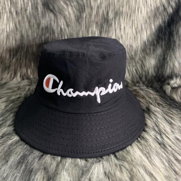 Nón Bucket / Mũ Vành Tròn Tai Bèo Thêu Logo Champion Đen [Ảnh Tự Chụp]