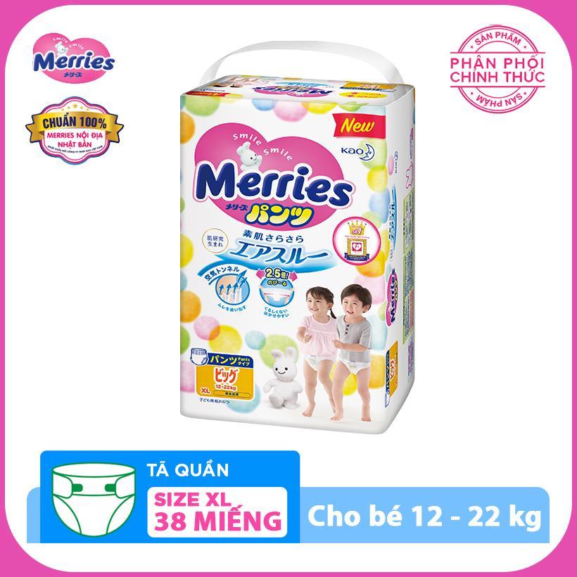 Tã/bỉm quần Merries size XL - 38 miếng (Cho bé...