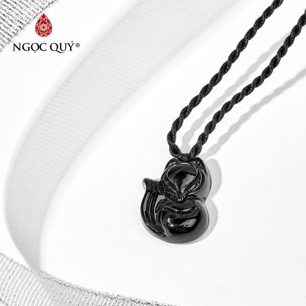 [HCM]Mặt dây chuyền đá pha lê đen hồ ly 1.7x2.3cm mệnh thủymộc (màu đen) - Ngọc Quý Gemstones