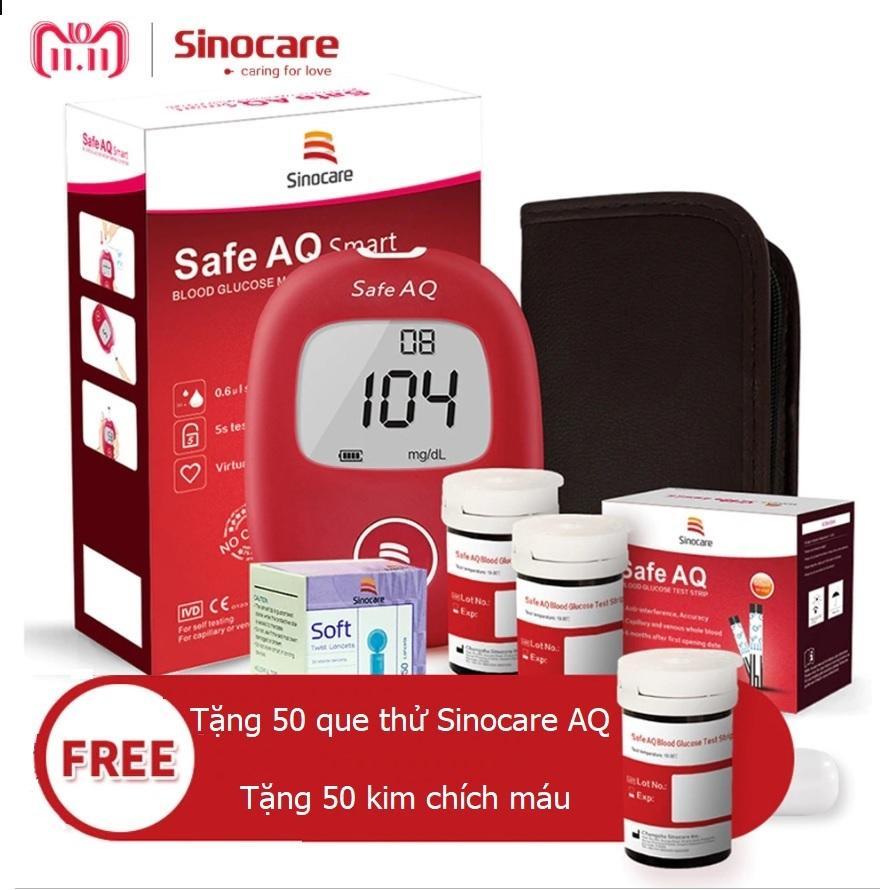 Nơi bán Máy đo đường huyết Sinocare Safe AQ tặng 1 hộp 25 que thử đường huyết và hộp 25 kim chích máu
