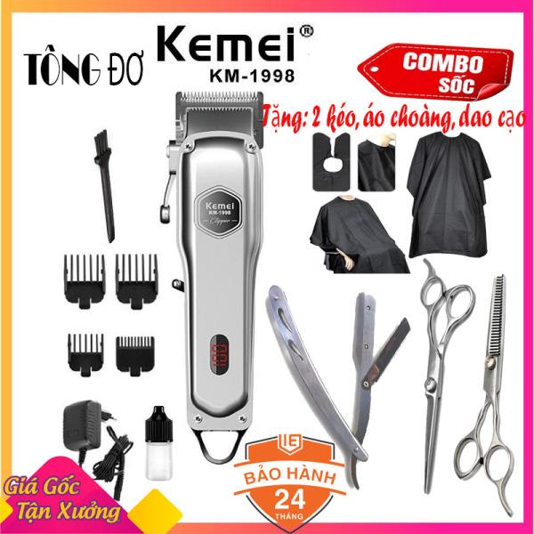 [Xả kho] Tông đơ cắt tóc cao cấp Kemei 1998 thân nhôm nguyên khối, tăng đơ hớt tóc (tong do cat toc) chuyên nghiệp không dây sạc pin + Tặng 2 kéo cắt tỉa tóc chuyên dụng, 01 áo choàng cắt tóc và 01 dao cạo