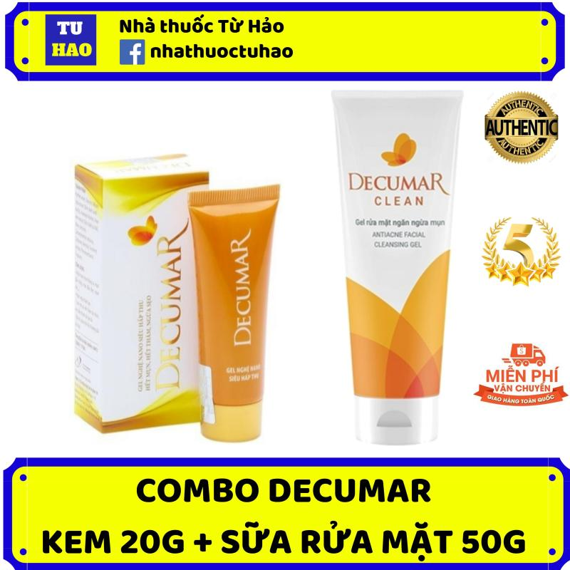 Bộ đôi trị mụn hiệu quả Decumar 20g - Decumar Clean 50g - kem trị mụn, kem trị thâm, kem nghệ decumar, sữa rửa mặt decumar clean