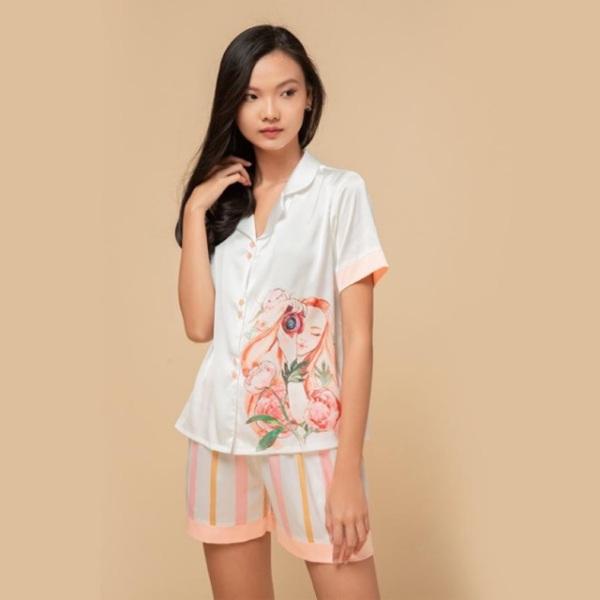 Nơi bán Folie Homewear đồ mặc nhà áo ngắn tay quần đùi lụa FB70.1