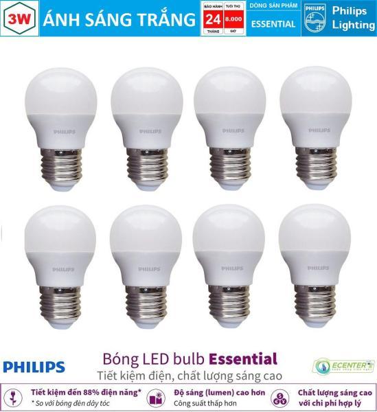 ( Bộ 8 ) Bóng LED Bulb Philips Essential 3W E27 P45 ( Ánh sáng vàng & trắng)