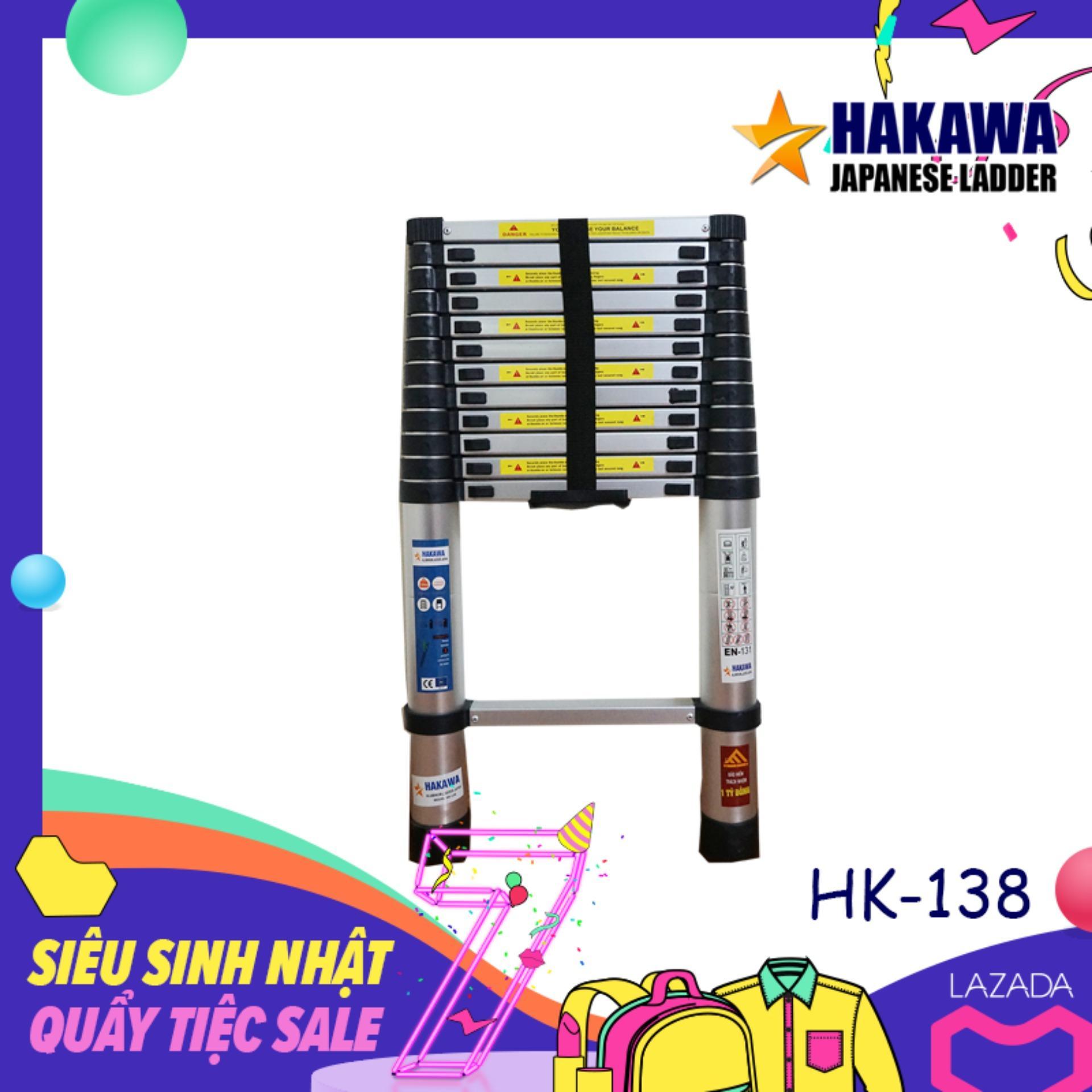 [KHUYỄN MÃI SỐC] Thang nhom rut don HAKAWA JAPAN HK138  3m8 - Cộng Thêm 6 tháng bảo hành